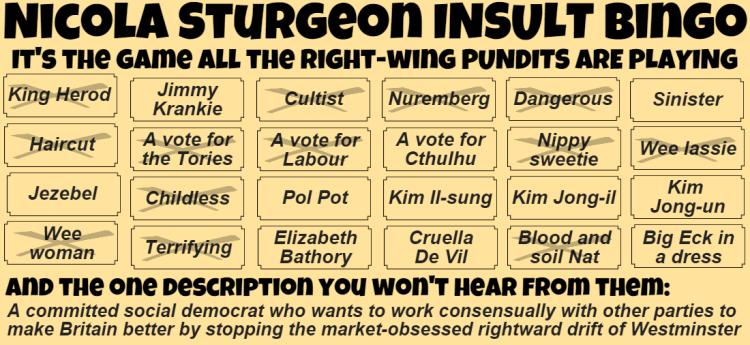 Nicola Sturgeon insult bingo